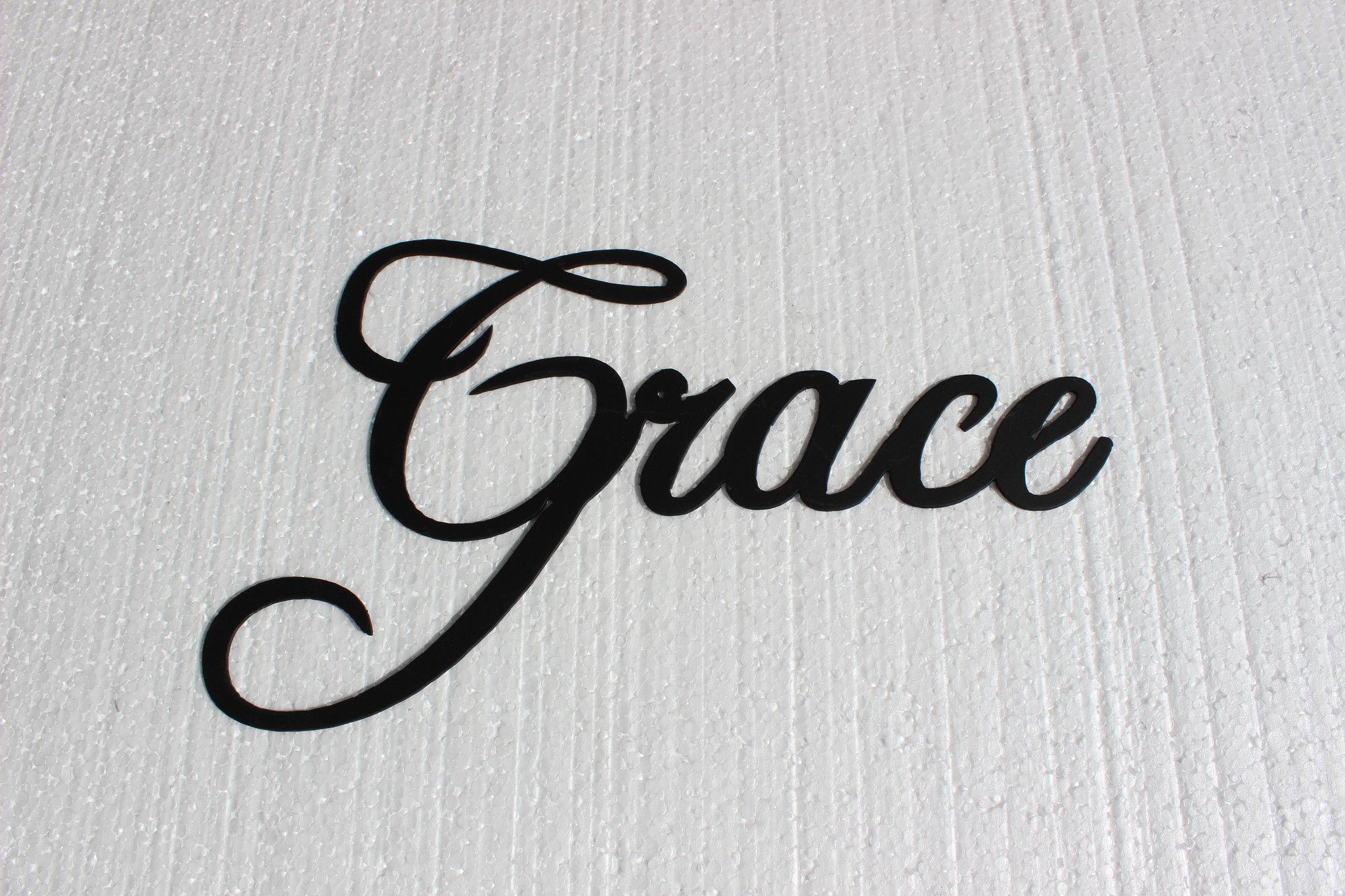 Grace Word Fancy Script Font Metal Wall Art Home Decor