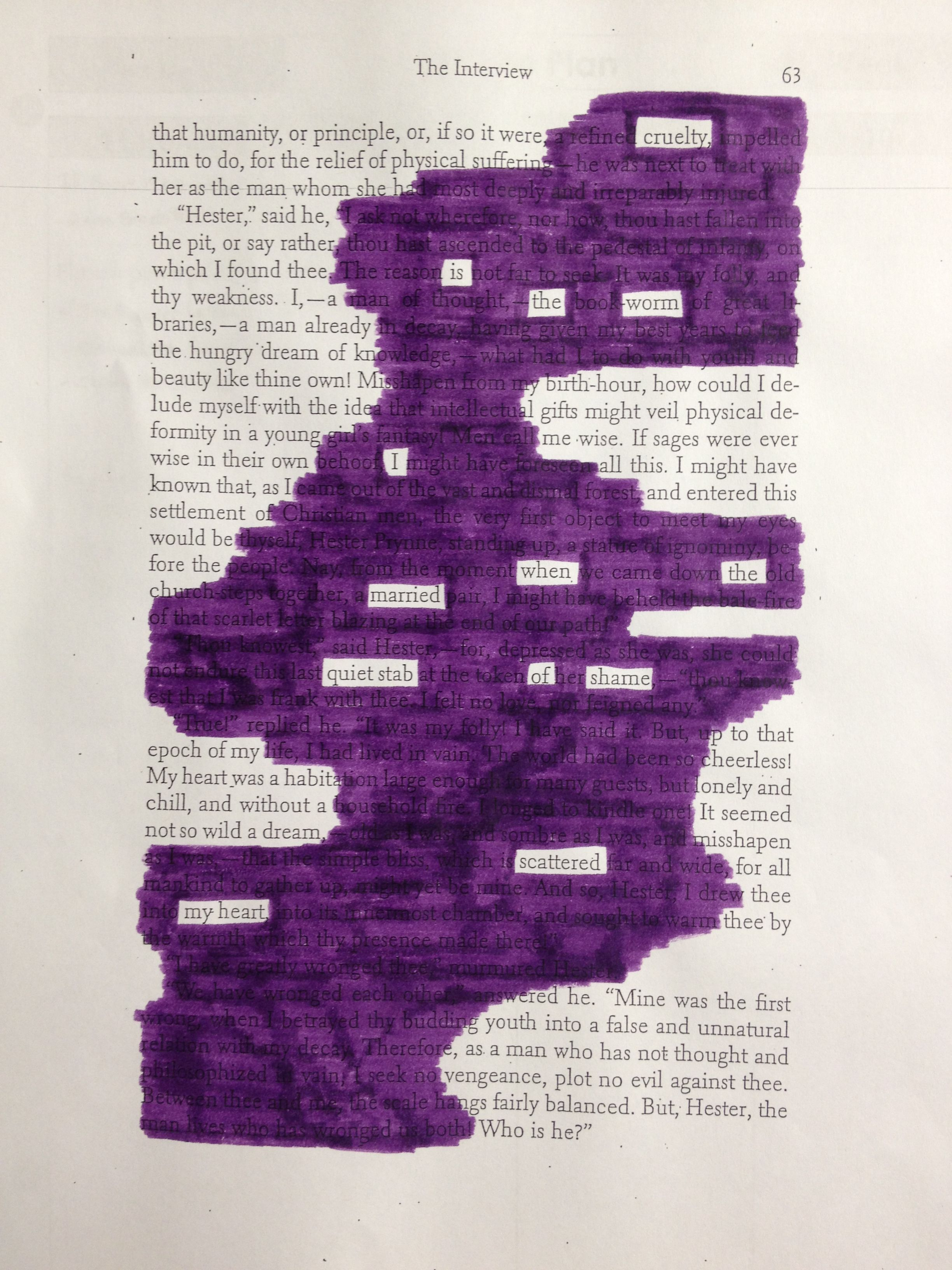 The Scarlet Letter Blackout Poetry In class assignment