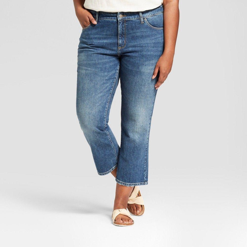 100a42b498a Women s Plus Size Wide Leg Kick Boot Crop Jeans - Universal Thread Dark  Wash 22W