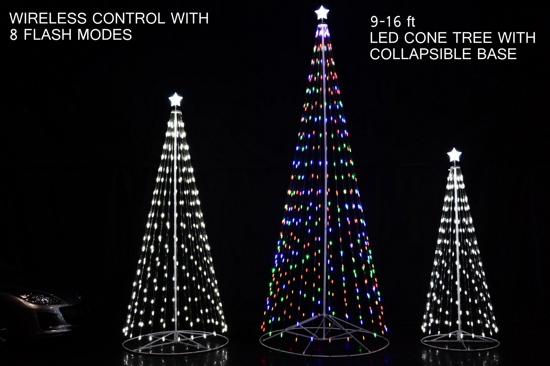 108 Inch 9 Ft Led Light Christmas Tree Multicolor With Wireless Remote Control 8 Light Modes Indoor O Outdoor Holiday Decor Outdoor Holidays Led Christmas Tree