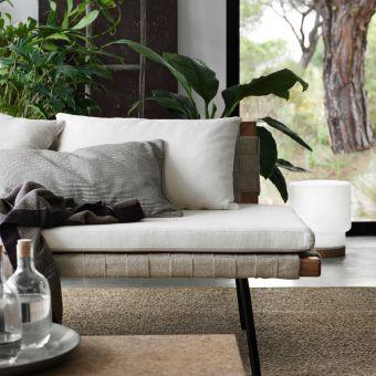 SINNERLIG Tagesbett Mit Kissen In Weiß, Grau Und Streifen In Schwarz/Weiß