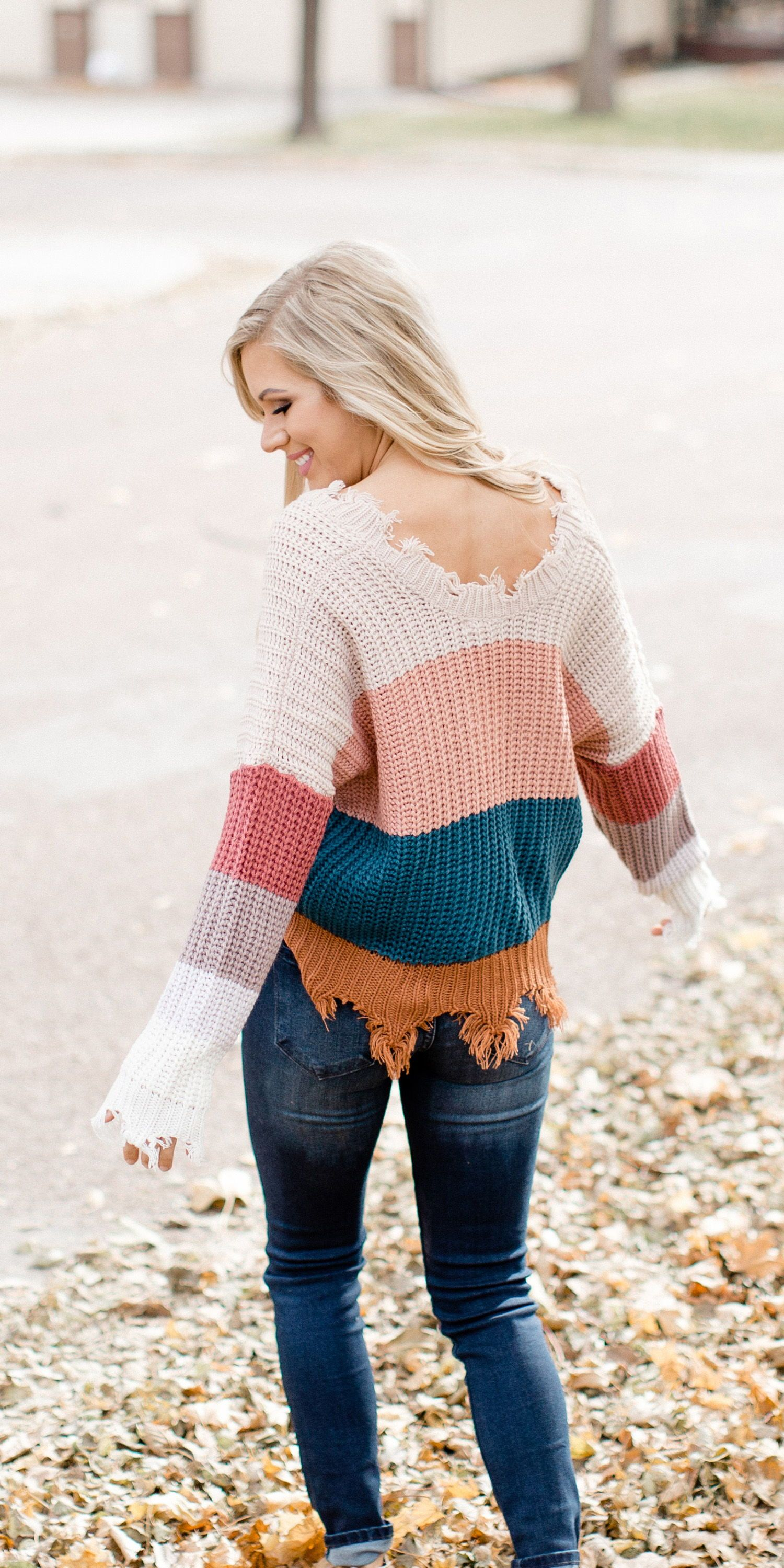 Trendy Colorblock Sweater With The Cutest Distressed Hem