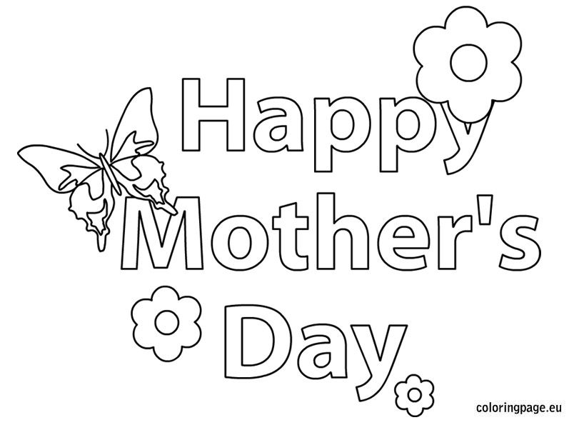 Happy Mothers Day Butterfly And Flower Coloring Page