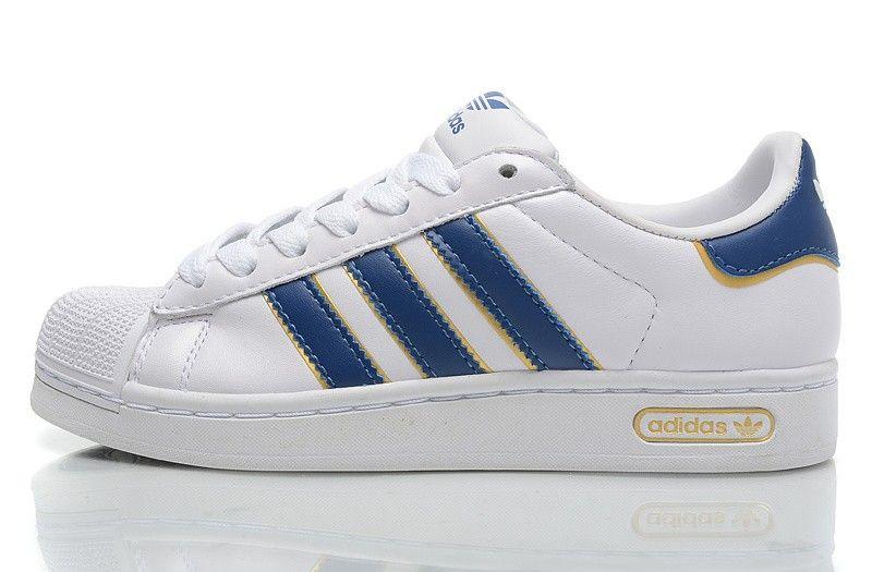 adidas superstar ii unisex scarpe casual originali bianco / blu 665561