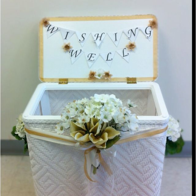 laundry basket turned into a wishing well for a bridal shower