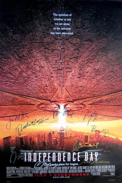 Independence Day Original 27x40 Movie Poster Cast Signed By Bill