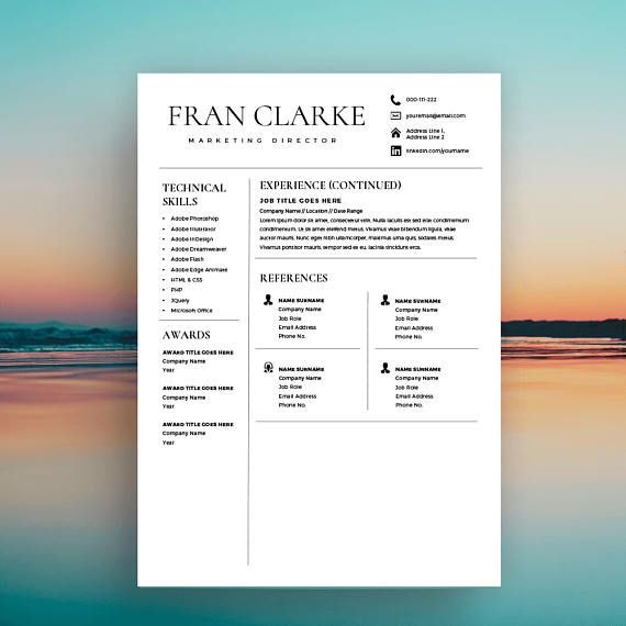 Creative Resume Template for Word, 1 / 2 Page Resume Template and