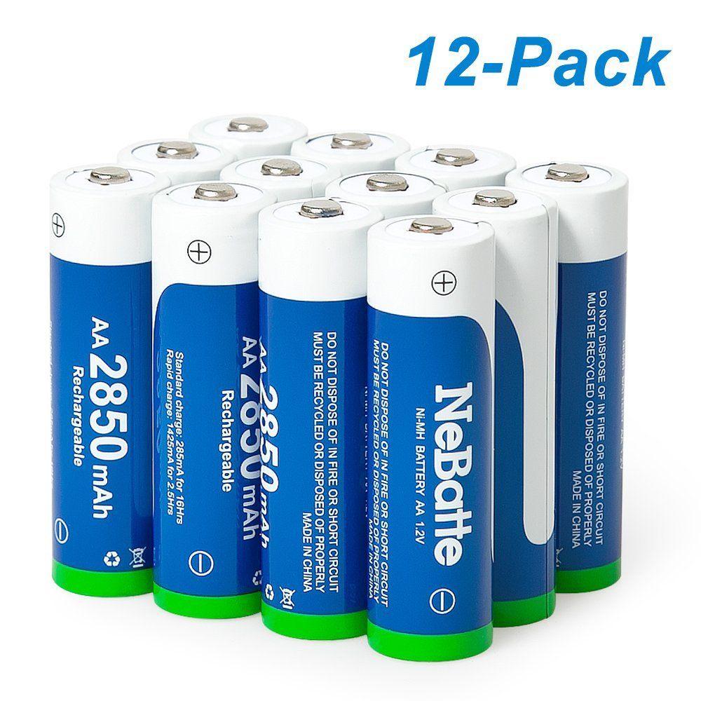 Nebatte Aa 2850mah 1 2v Ni Mh 12 Piles Rechargeables Batterie Avec Sstui De Rangement Pile Rechargeable Etui Batterie