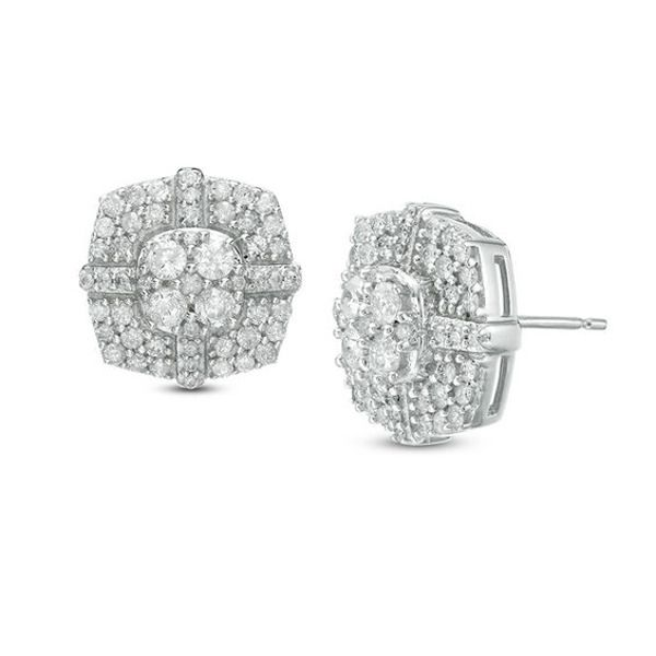 1 Ct T W Composite Diamond Cushion Frame Stud Earrings In 10k White Gold Zales In 2020 Bridesmaid Diamond Earrings Diamond Custom Diamond Rings