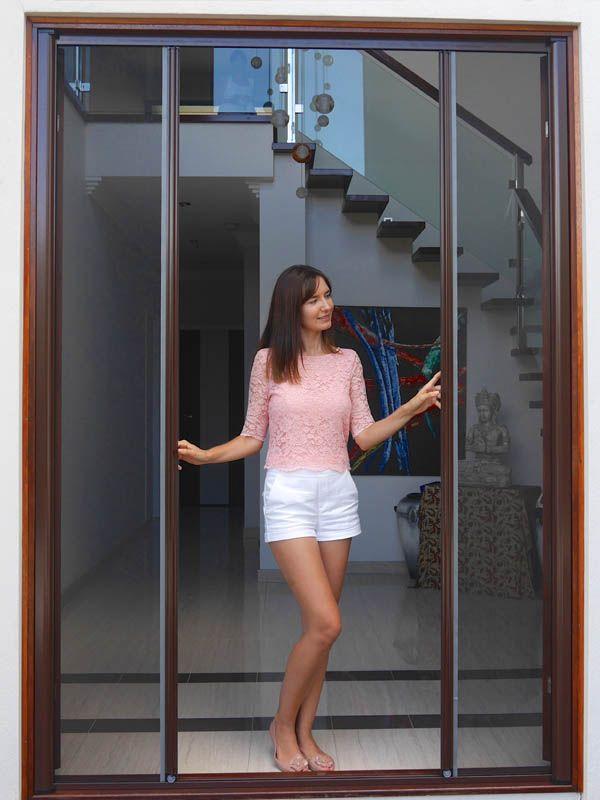 Double Retractable Screen Door Fly Screens For French Doors Up