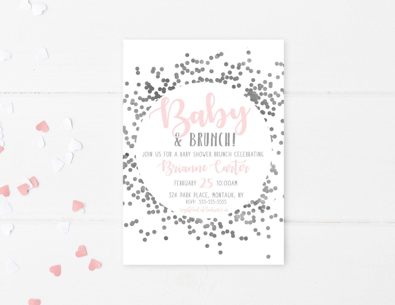 Baby Shower Invitation, Baby Shower Brunch, Brunch, Confetti, Pink ...