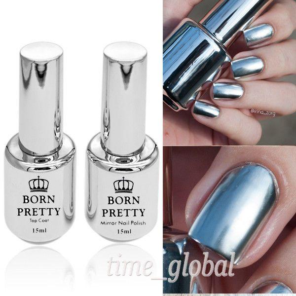 2Pcs 15ML Metallic Mirror Effect Nail Polish Metal Silver Varnish ...