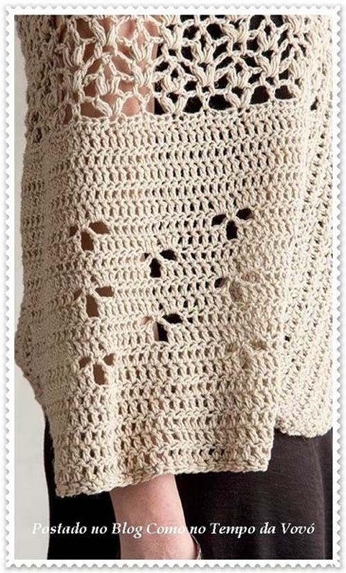 Patron poncho elegante a crochet para dama08 | Proyectos que ...