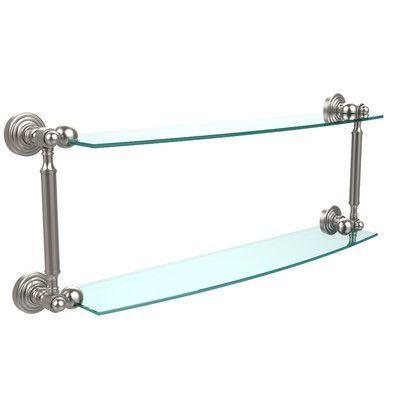 """Allied Brass Waverly Place Bathroom Shelf Size: 28"""" W x 8.5"""" H, Finish: Satin Nickel"""