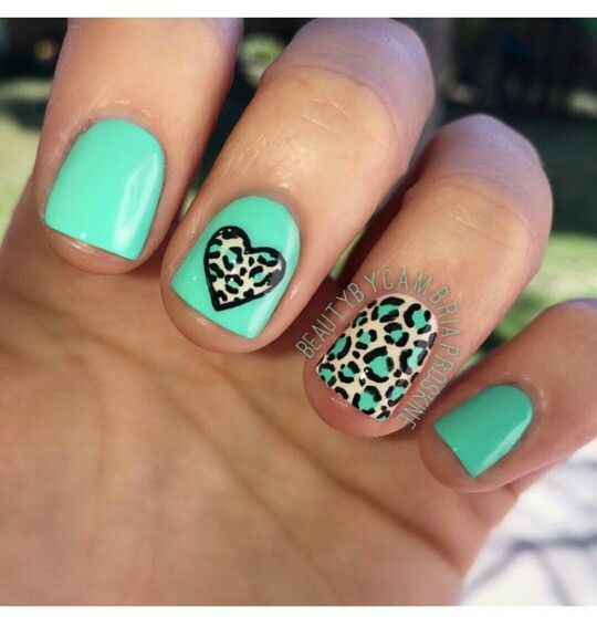 Green leopard print nail art design | leopard nail designs | green nails.  Cheetah ... - Green Leopard Print Nail Art Design Leopard Nail Designs Green