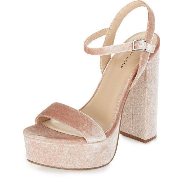 95c5523abdf New Look Pink Velvet Ankle Strap Platform Block Heels ( 38) ❤ liked on  Polyvore