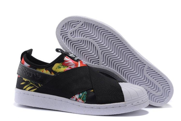 29761b8af7d Adidas Superstar Slip On Originals Womens floral shoes Black S81333 Tênis  Adidas