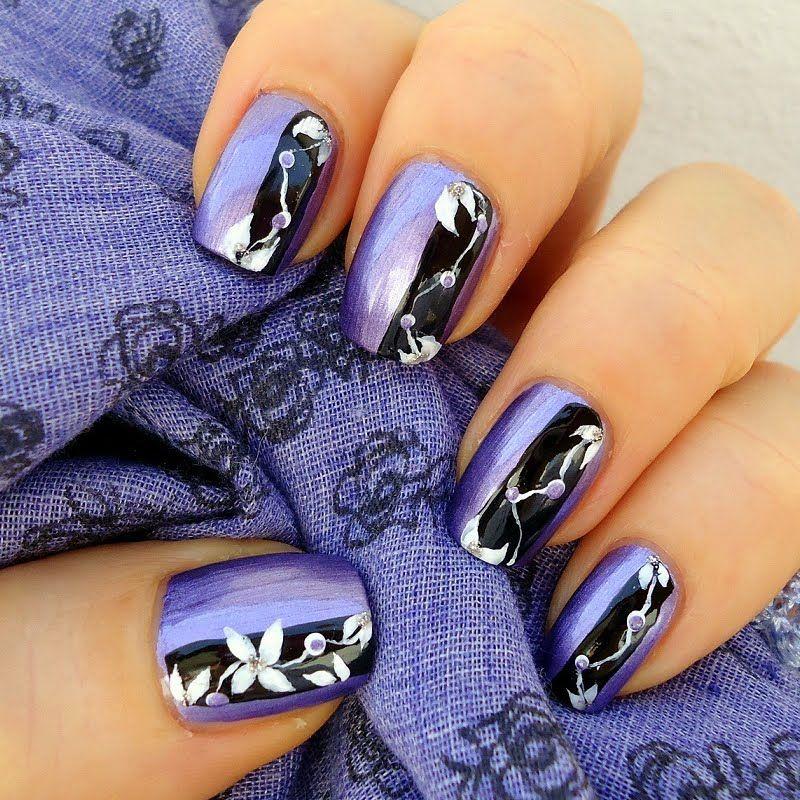 Purple Chrome Nail Art: Cute Flower Nail Art Designs
