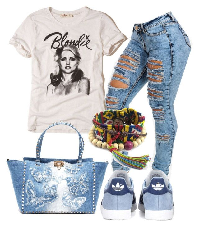 """Casual"" by alice-fortuna on Polyvore featuring Hollister Co., Valentino, NOVICA and adidas Originals"