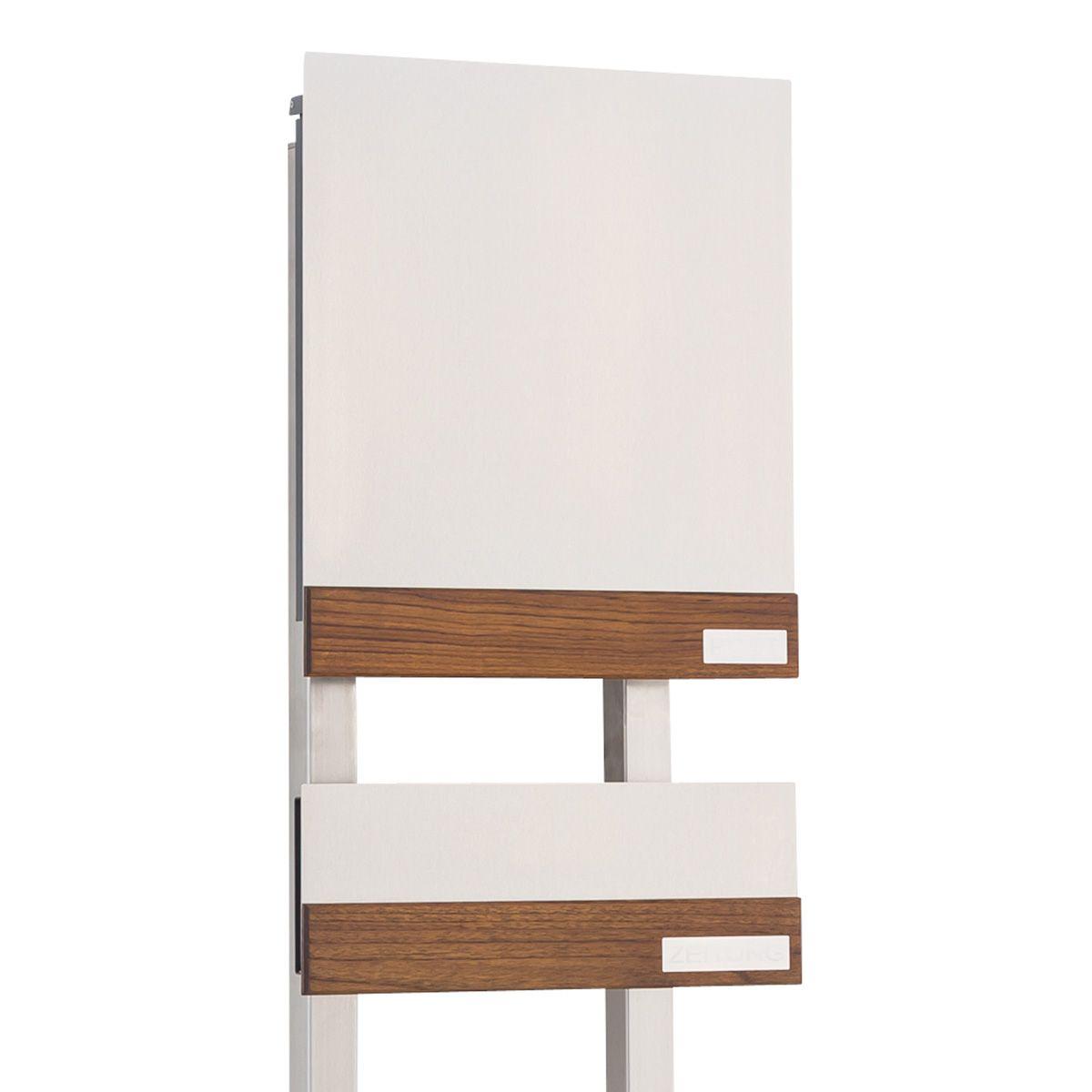 hochwertig gefertigter freistehender edelstahl design briefkasten mit zeitungsfach erh ltlich. Black Bedroom Furniture Sets. Home Design Ideas