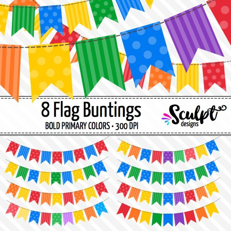 8 flag buntings clip art in bold primary colors. So bright!