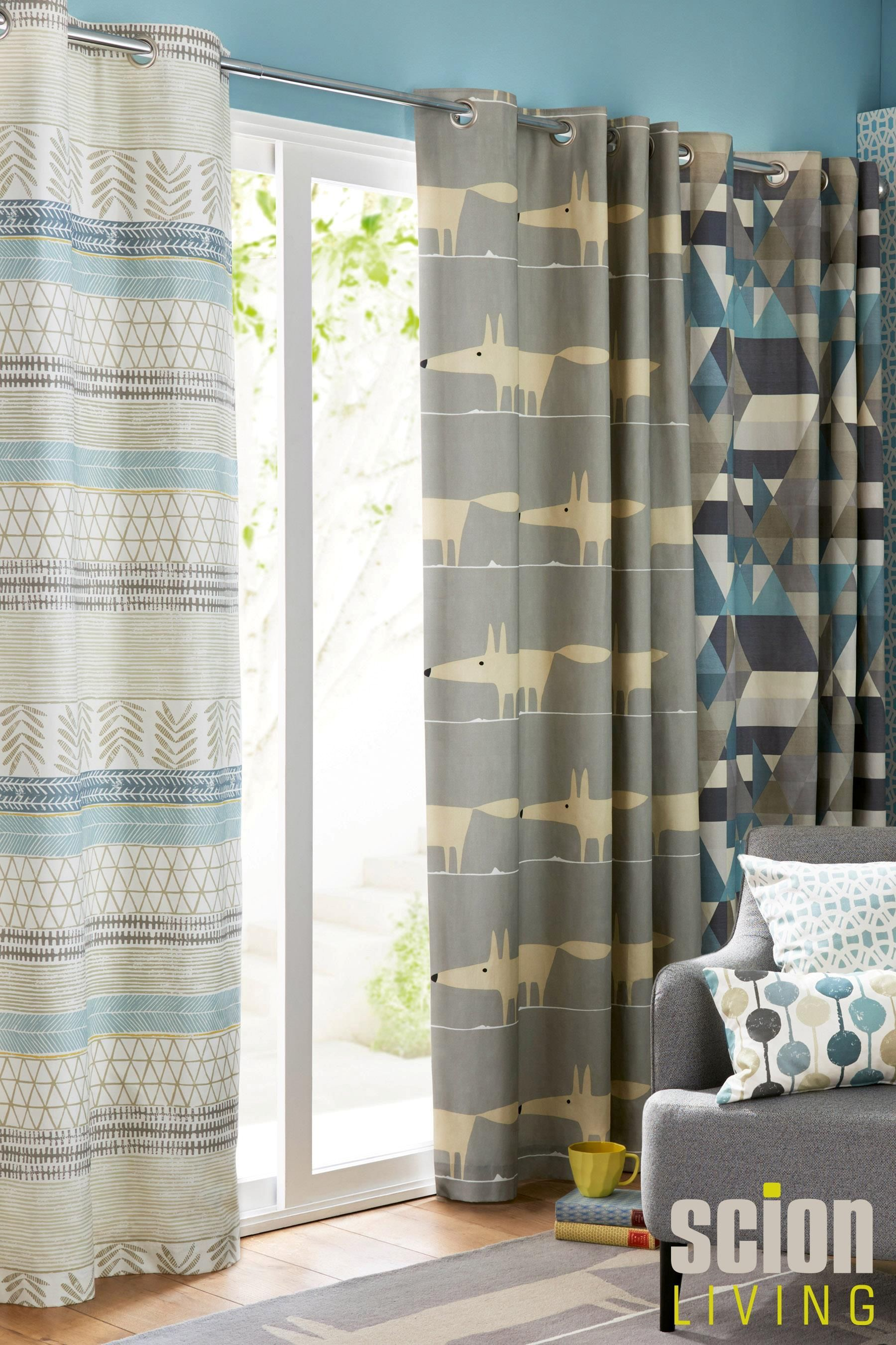 buy scion raita blue eyelet curtains from the next uk. Black Bedroom Furniture Sets. Home Design Ideas