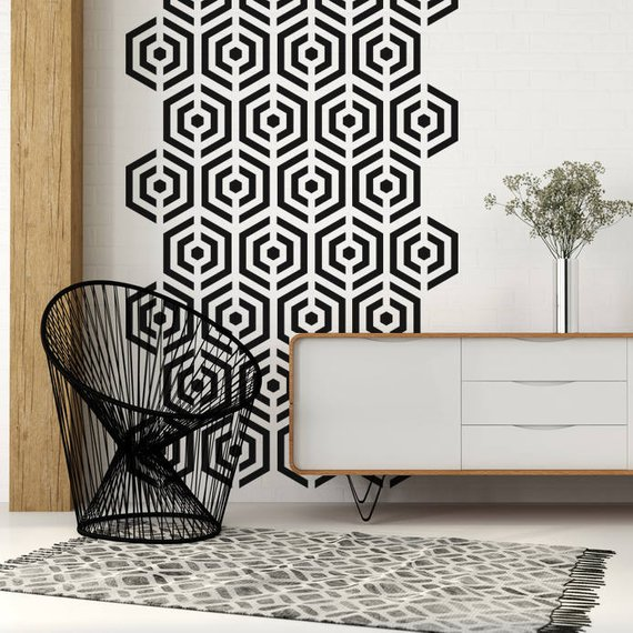 Mid Century Decals Mid Century Decor Hexagon Wall Decal Hexagon Wall Art Geometric Wall Decal A In 2020 Mid Century Decor Wall Decor Wall Stickers Geometric