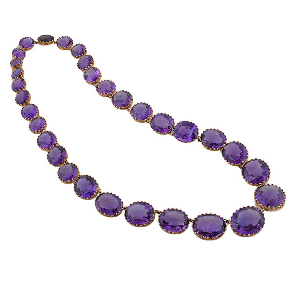 A Victorian Amethyst Necklace | From a unique collection of vintage more necklaces at https://www.1stdibs.com/jewelry/necklaces/more-necklaces/