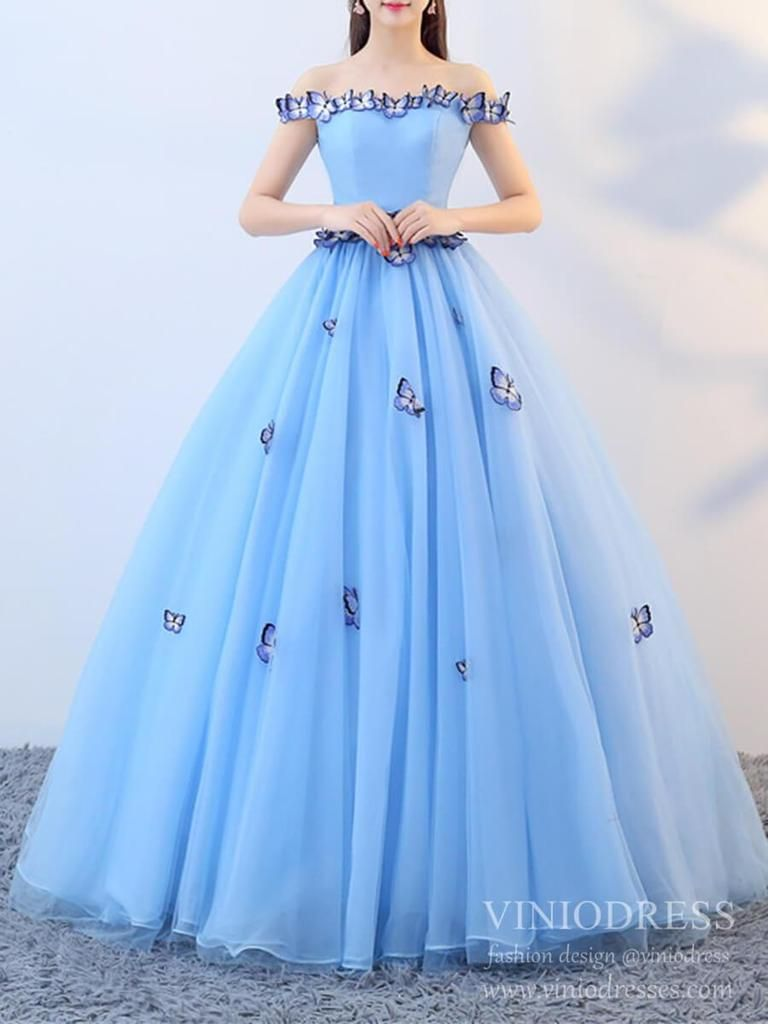 Cheap light blue butterfly quinceanera dress sweet 16