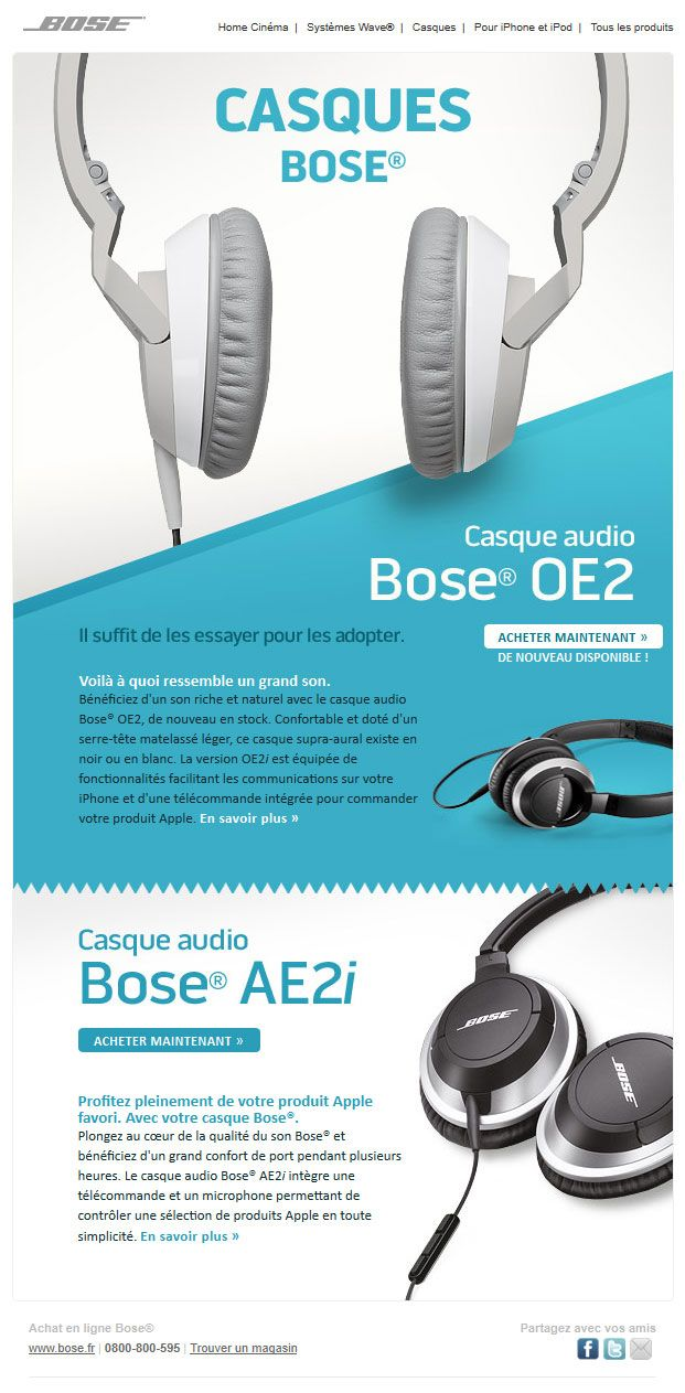 Bose headphones | Website Design | Email Newsletter Design ...