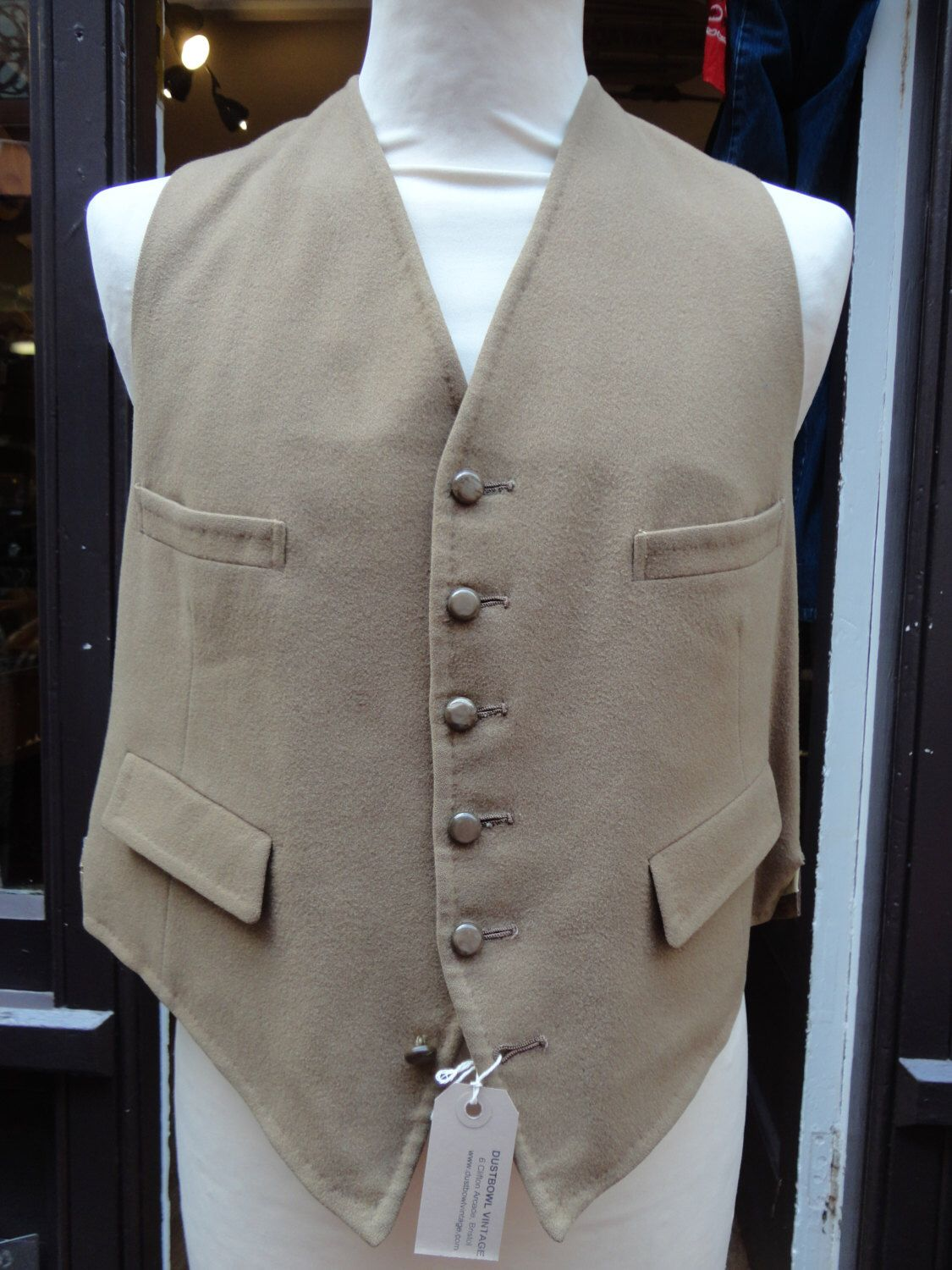 """Vintage 1960s 60s cream beige tan brown wool waistcoat vest large 40"""" chest back cinch by TheDustbowlVintage on Etsy https://www.etsy.com/listing/236468477/vintage-1960s-60s-cream-beige-tan-brown"""
