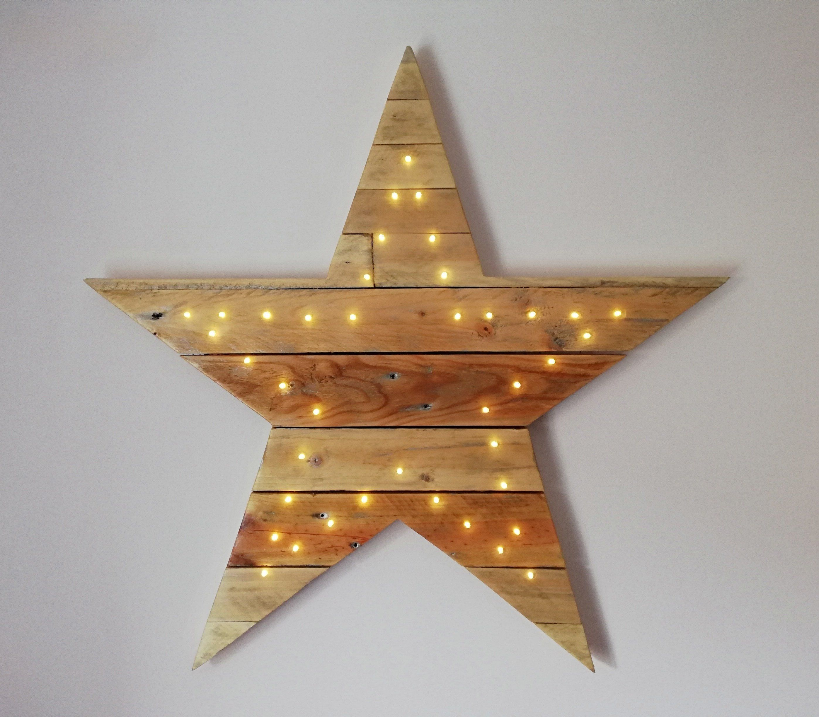 Excited To Share The Latest Addition To My Etsy Shop Reclaimed Wood Star Light Up Wall Decor Rustic Wooden Star Wood Pallet Art Wooden Stars Wood Pallets