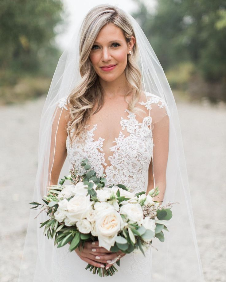 illusion neckline wedding dress #weddingdress | Bride hairstyles with veil, Wedding hair down ...