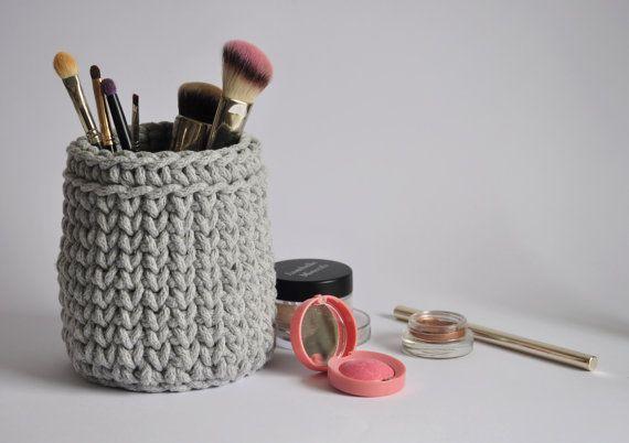 Grey storage basket, crochet pencil cup, bathroom basket ...