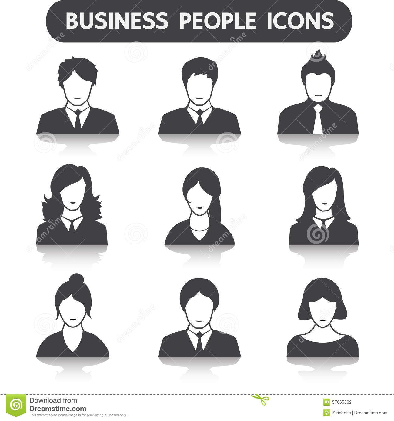 Male Female Business People Icon Set Web Icons 57065602 Jpg 1300 1390 People Icon Icon Set Business Women