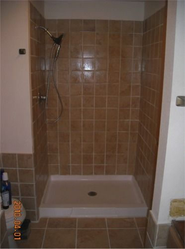 tiled shower stall completed tile shower stall bathroom updates