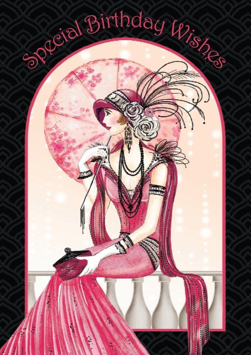 Art Deco Lady Special Birthday Wishes Card Amazoncouk
