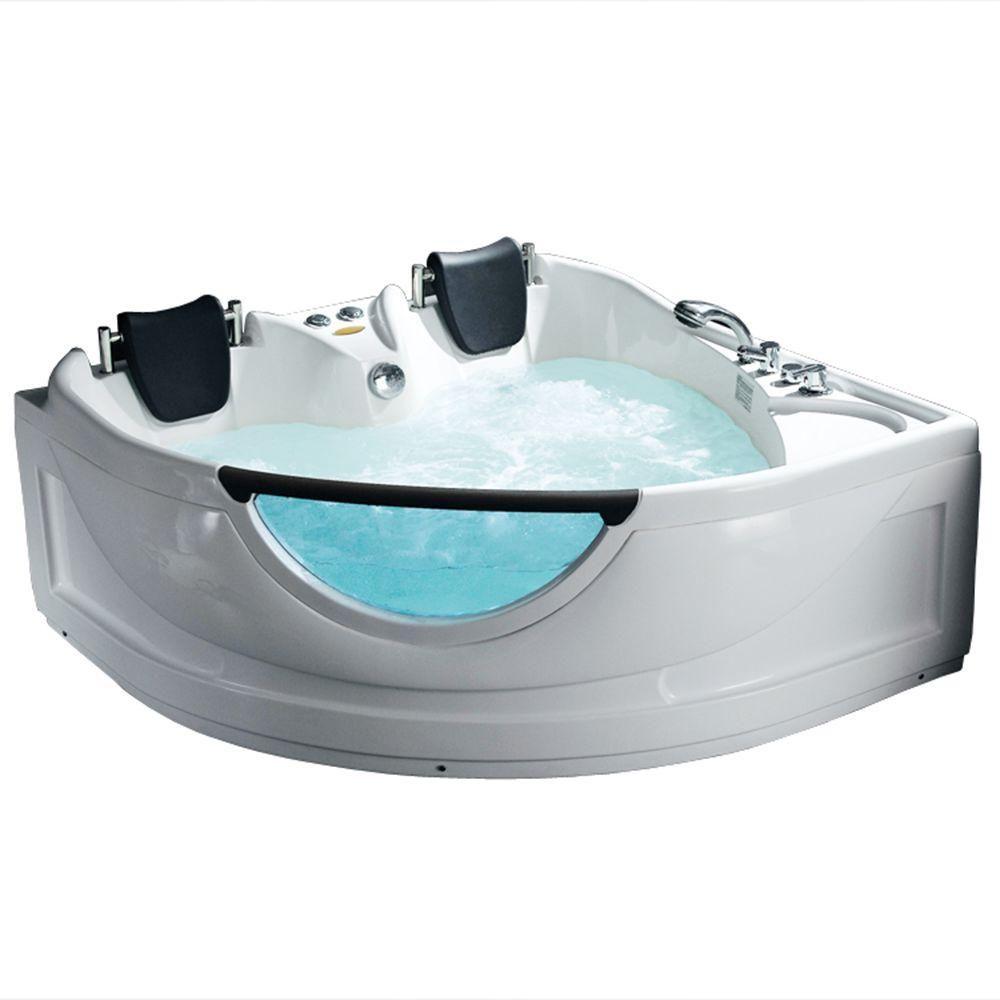 Ariel 60 in. Center Drain Corner Alcove Whirlpool Bathtub in White ...