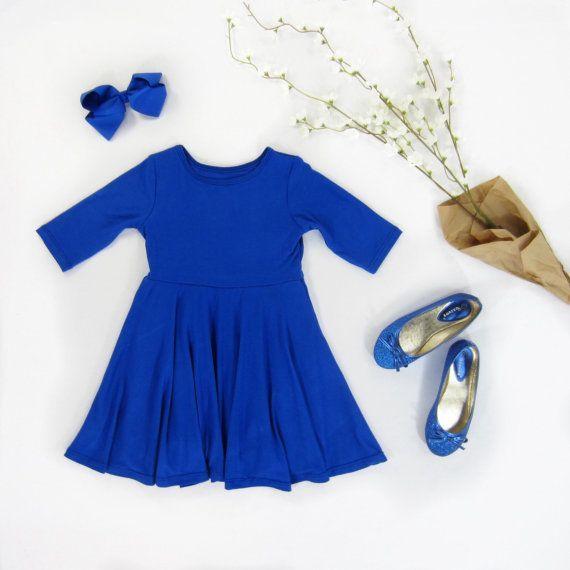 Girls Cobalt Dress with Full Circle Skirt Sizes 2/3 by LibertyLark #cobaltdress Girls Cobalt Dress with Full Circle Skirt Sizes 2/3 by LibertyLark #cobaltdress