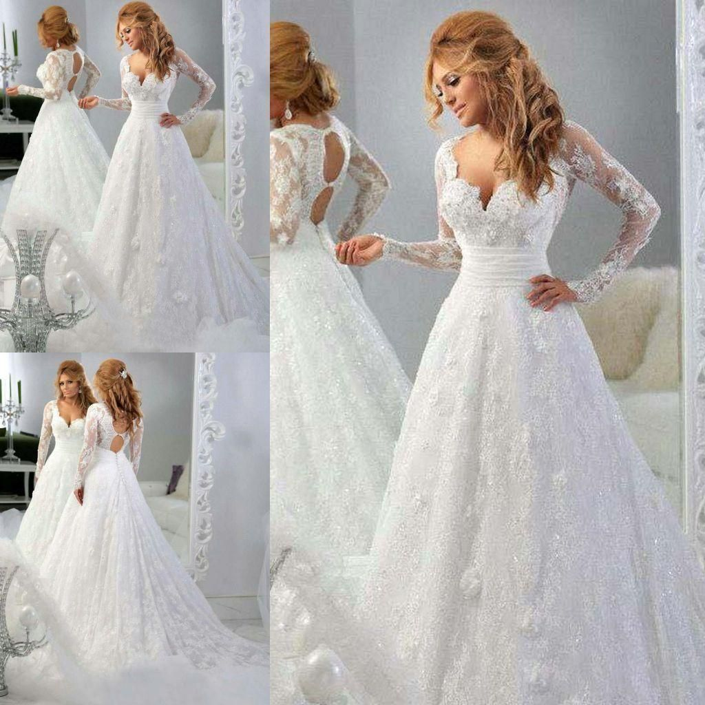 Lace wedding dress under 300  Sexy Princess Vneck Sheer Long Sleeves Wedding Dresses Lace Pleated