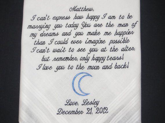 Personalized wedding handkerchief for the by elegantmonogramming, $24.00