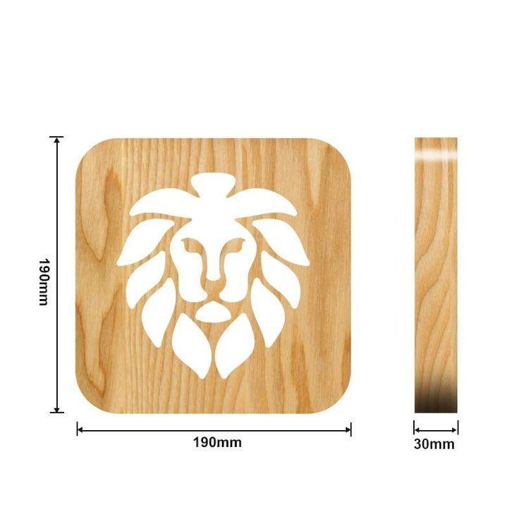 Massgeschneiderte Led 3d Lampe Kreative Lion Animal Holztisch Lampen Crative Geschenk Pr Animal Crative Geschneide Holztischlampen Nachtleuchte Lampe
