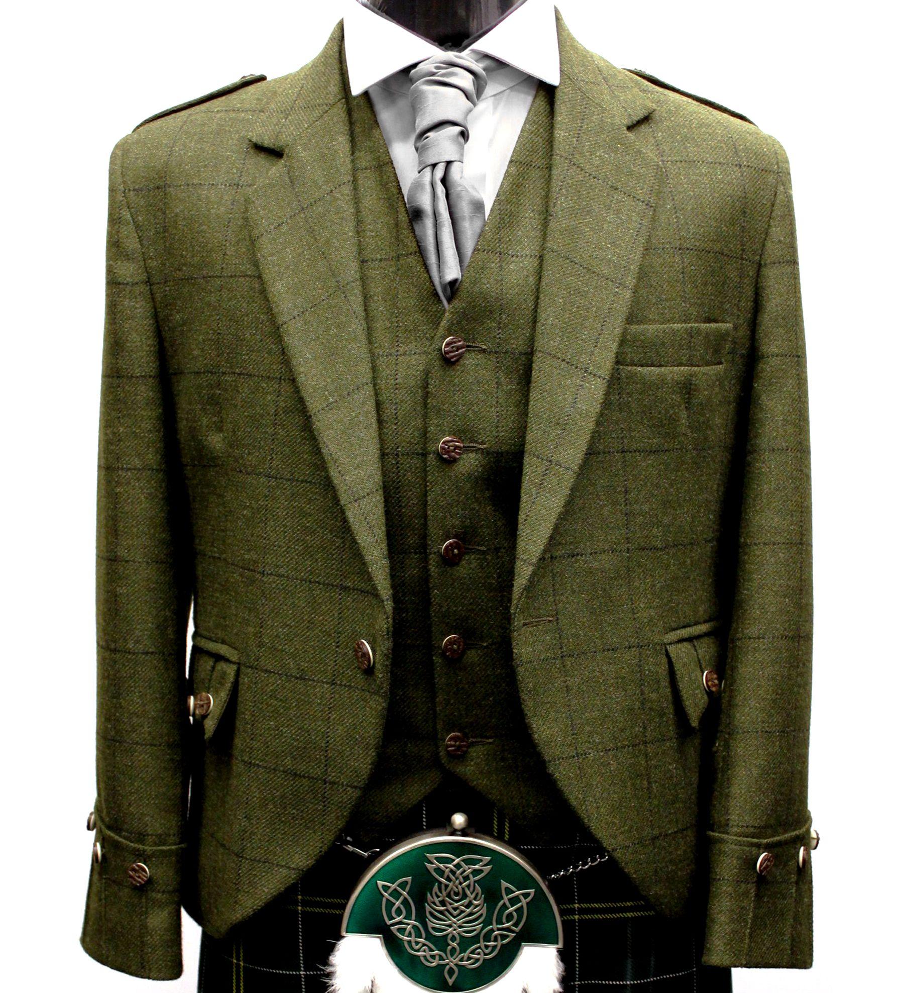 Green Tweed Argyll Kilt Jacket & Vest Kilt jackets