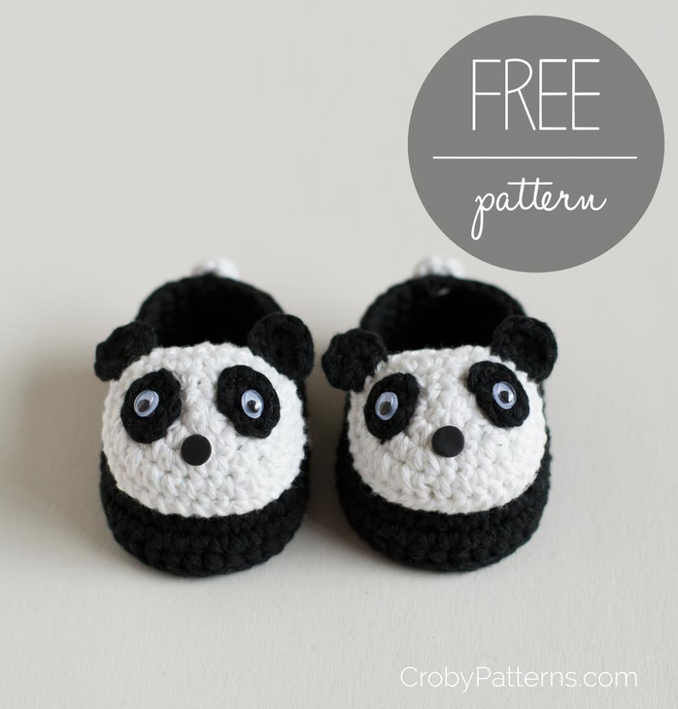 gehäkelte Panda-Booties | Babyschuhe & Booties - gehäkelt by ...