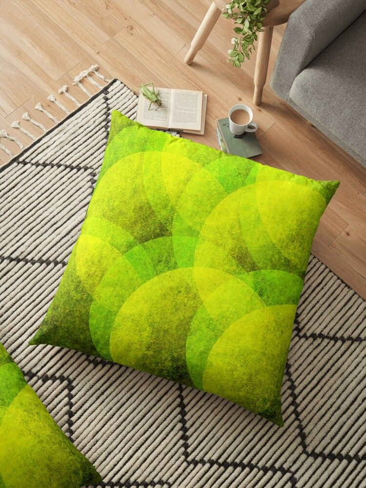 yellow and lime green modern grunge style circle geometrical pattern Floor Pillow