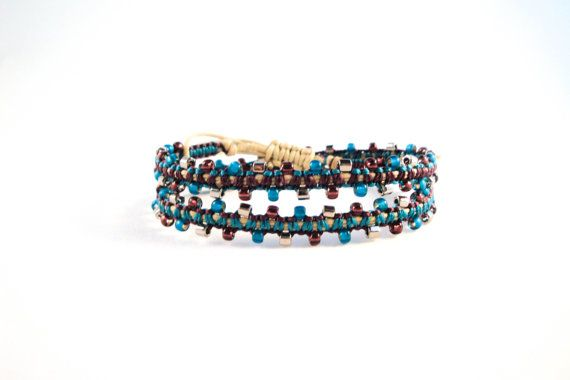 Trendy Double Bracelet - jewelry - Silver, Amethyst, and Teal Beads -  KatRox