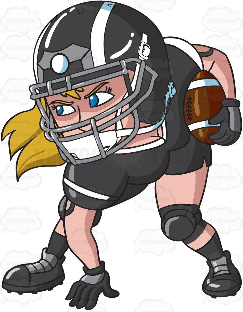 hight resolution of a female football player ready to play cartoon clipart vector vectortoons stockimage stockart art