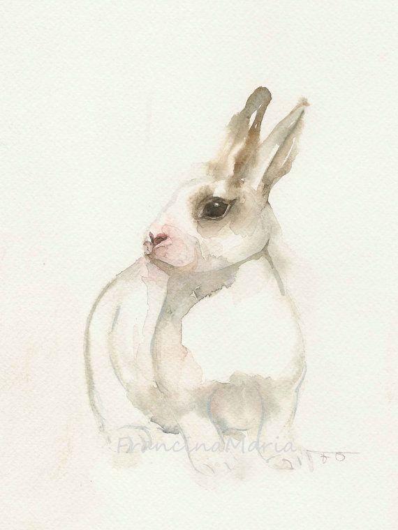 Le Lapin Blanc Art Animal Lapin Lapin De L Aquarelle Sur Papier