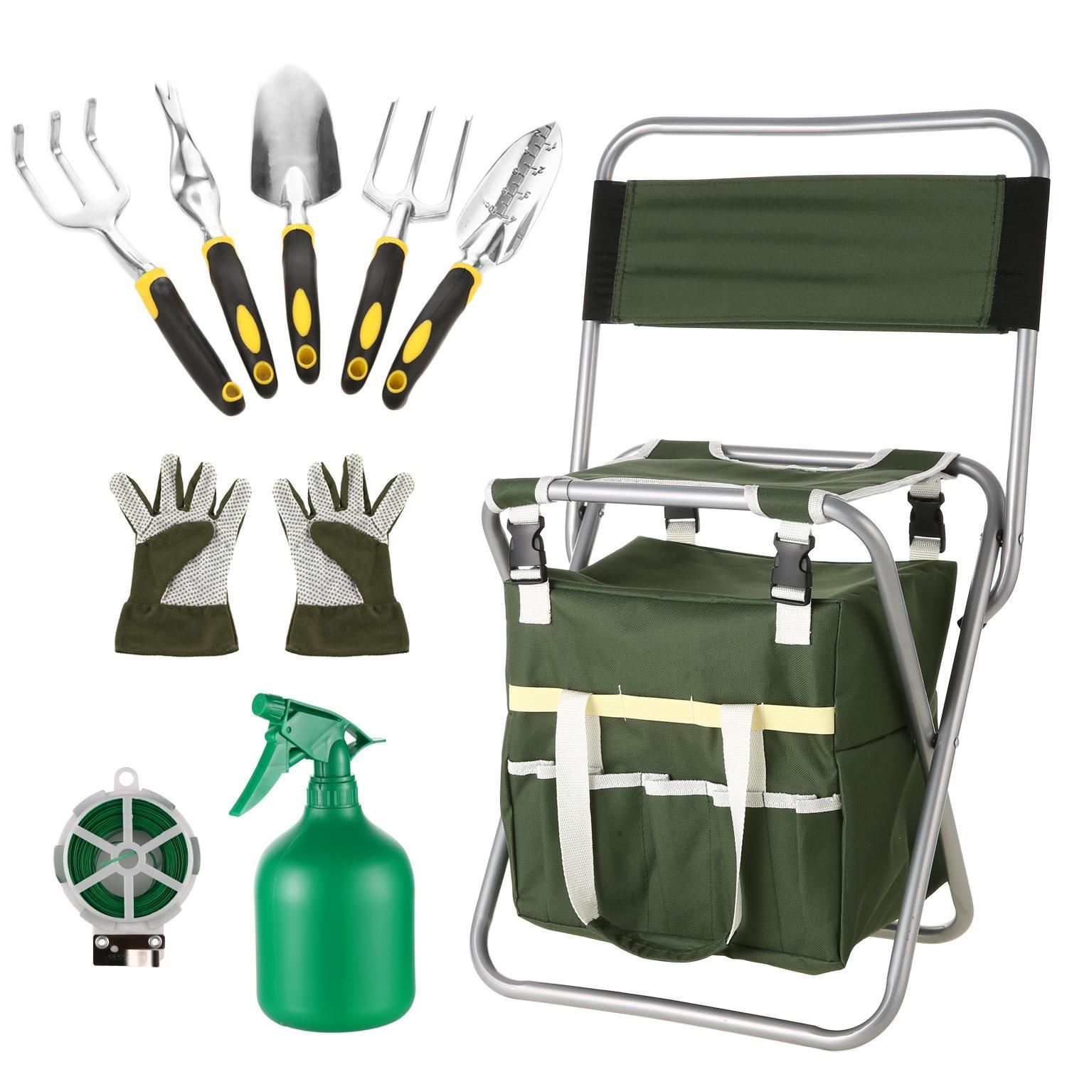 Recomeneded Kimimart Garden Tools Kit, 10 Piece Vegetable Herb Gardening Tool Set, Foldable Stool with Backrest and Zippered Detachable Tote is part of garden Kids Tools - Garden tools are conveniently stowed in the outside pockets to be near at han