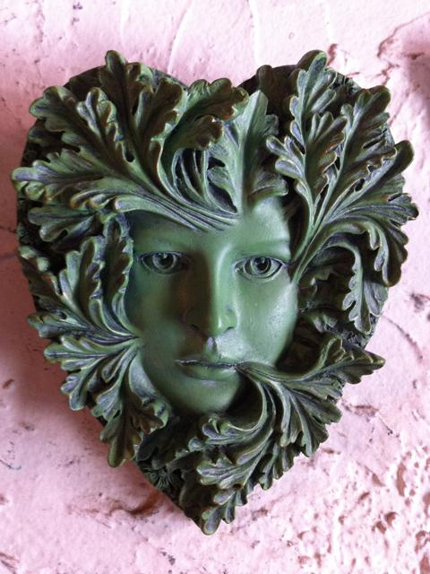 Primavera Heart Shaped Greenwoman From Gargoyles Statuary In Seattle. $18.00